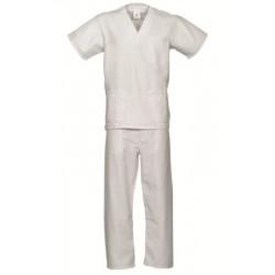 Pijama blanco unisex cuello...